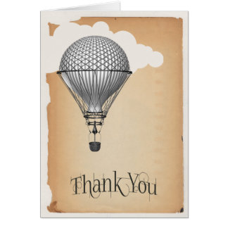 Steampunk Hot Air Balloon Wedding Thank You Card