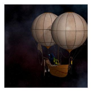 Steampunk Hot air Baloon Perfect Poster