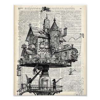 Steampunk house photo print