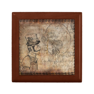 Steampunk Jewelry Box with Edwardian Man