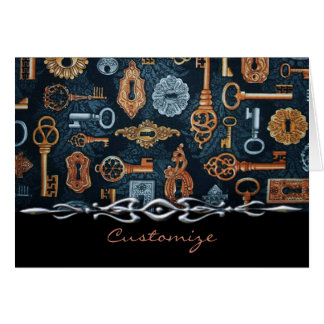 Steampunk Keys and Key Holes Pattern Note Card