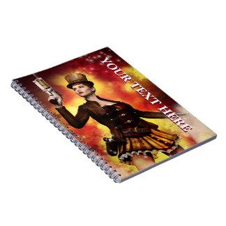 Steampunk Lady Spiral Notebook
