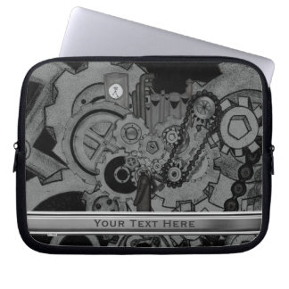Steampunk Machinery (Monochrome) Laptop Sleeve