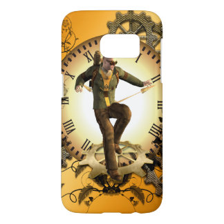 Steampunk, man on a clock samsung galaxy s7 case