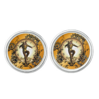 Steampunk, man on a clock with gears cuff links