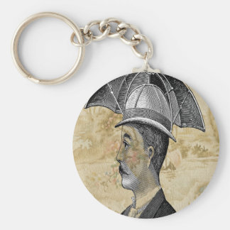 Steampunk Man Umbrella Hat Basic Round Button Keychain