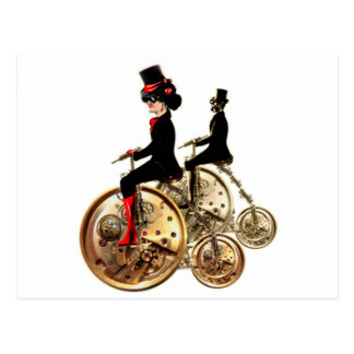 Steampunk man woman penny farthings gifts by LeahG Postcard