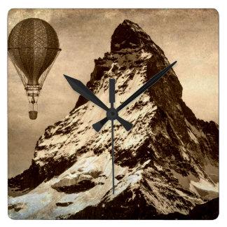 Steampunk Matterhorn Square Wall Clock