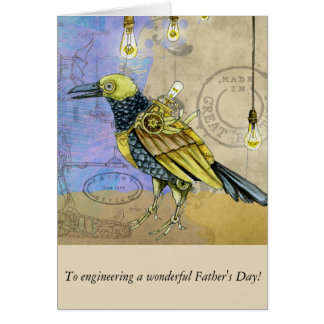 Steampunk Mechanical Bird Engineering Father's Day Card