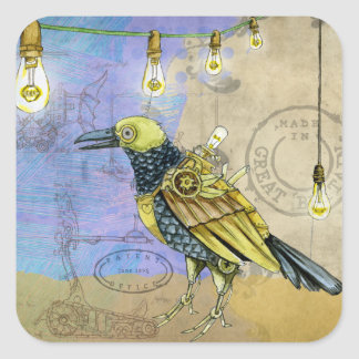 Steampunk Mechanical Bird Engineering Father's Day Square Sticker