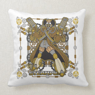 Steampunk Mechanical Cowboy Throw Pillow