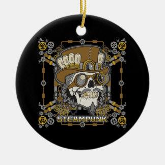 Steampunk Mechanical Skull Round Ceramic Ornament