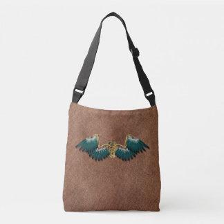 Steampunk Mechanical Wings Brown Crossbody Bag