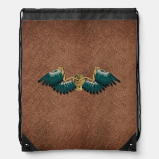 Steampunk Mechanical Wings Brown Drawstring Bag