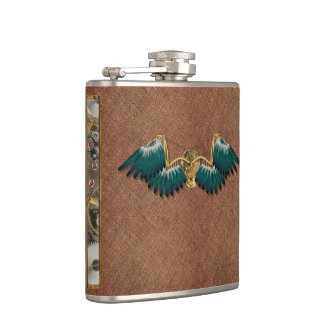 Steampunk Mechanical Wings Brown Hip Flask