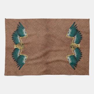 Steampunk Mechanical Wings Brown Kitchen Towel