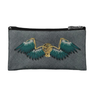 Steampunk Mechanical Wings Grey Cosmetic Bag