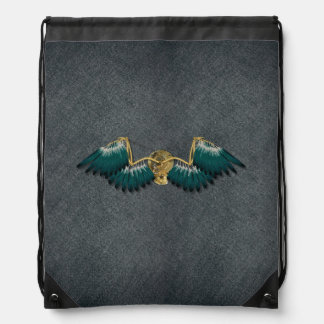 Steampunk Mechanical Wings Grey Drawstring Bag