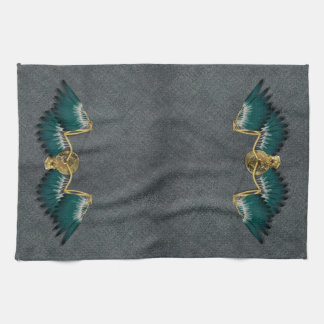 Steampunk Mechanical Wings Grey Kitchen Towel