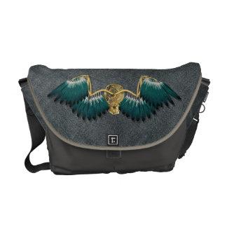 Steampunk Mechanical Wings Grey Messenger Bag