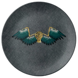 Steampunk Mechanical Wings Grey Plate