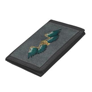 Steampunk Mechanical Wings Grey Tri-fold Wallet