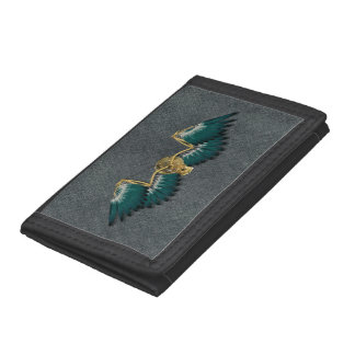 Steampunk Mechanical Wings Grey Trifold Wallets