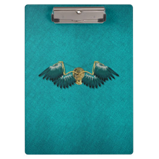Steampunk Mechanical Wings Teal Clipboard