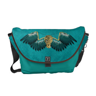 Steampunk Mechanical Wings Teal Commuter Bag