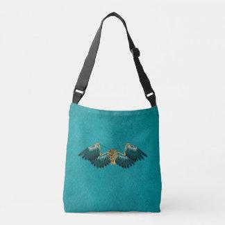 Steampunk Mechanical Wings Teal Crossbody Bag