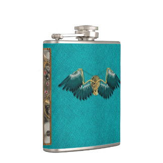Steampunk Mechanical Wings Teal Hip Flask