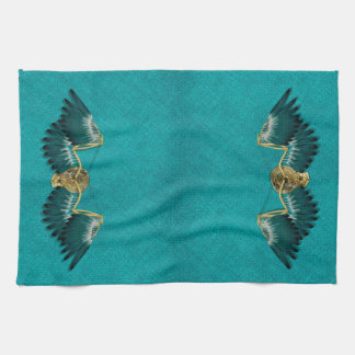 Steampunk Mechanical Wings Teal Kitchen Towel