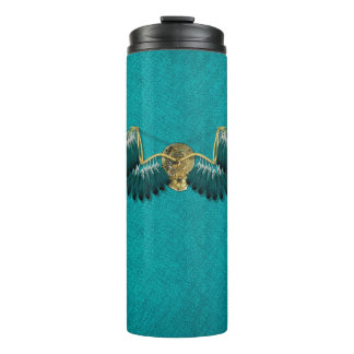Steampunk Mechanical Wings Teal Thermal Tumbler