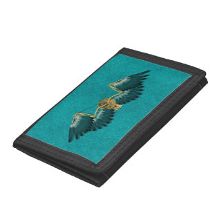 Steampunk Mechanical Wings Teal Tri-fold Wallet