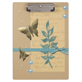 Steampunk Metal Butterfly Clipboard