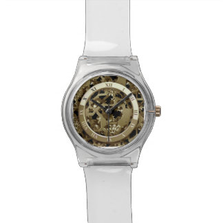 Steampunk Metal Clock Gears Abstract Wristwatches