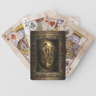 Steampunk Metal Dragons Bicycle Playing Cards