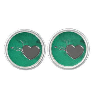 Steampunk Metal Heart Cufflinks