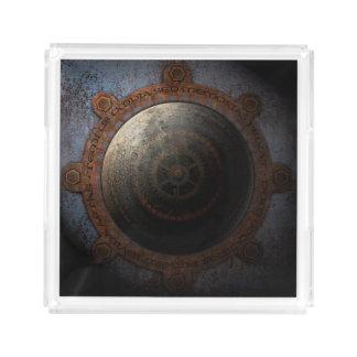 Steampunk Moon Clock Time Metal Gears Acrylic Tray