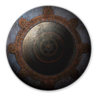 Steampunk Moon Clock Time Metal Gears Ceramic Knob