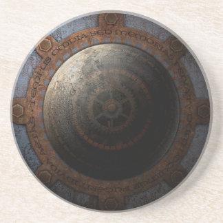 Steampunk Moon Clock Time Metal Gears Coaster