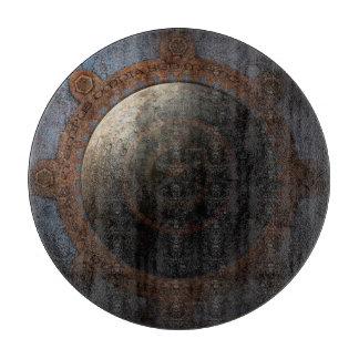 Steampunk Moon Clock Time Metal Gears Cutting Board