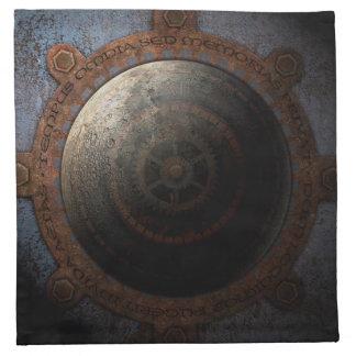 Steampunk Moon Clock Time Metal Gears Napkin