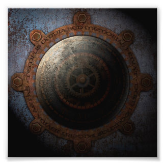Steampunk Moon Clock Time Metal Gears Photographic Print