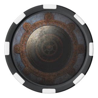 Steampunk Moon Clock Time Metal Gears Poker Chips