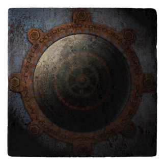 Steampunk Moon Clock Time Metal Gears Trivet