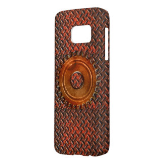 Steampunk Old Rusty Plating Red Metal & Cog Samsung Galaxy S7 Case