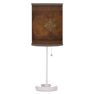 Steampunk Old World Map & Compass Rose Design Table Lamp