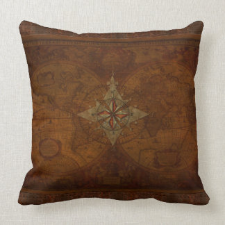 Steampunk Old World Map Decor Cushion Throw Pillow