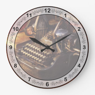 Steampunk - Oliver's typing machine Large Clock